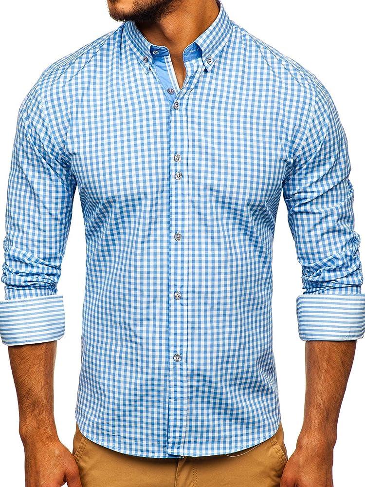 BOLF Hombre Camisa a Cuadros de Manga Larga Cuello Americano Camisa de Algodón Slim fit Estilo Casual 9712 Azul Claro M [2B2]: Amazon.es: Ropa y accesorios