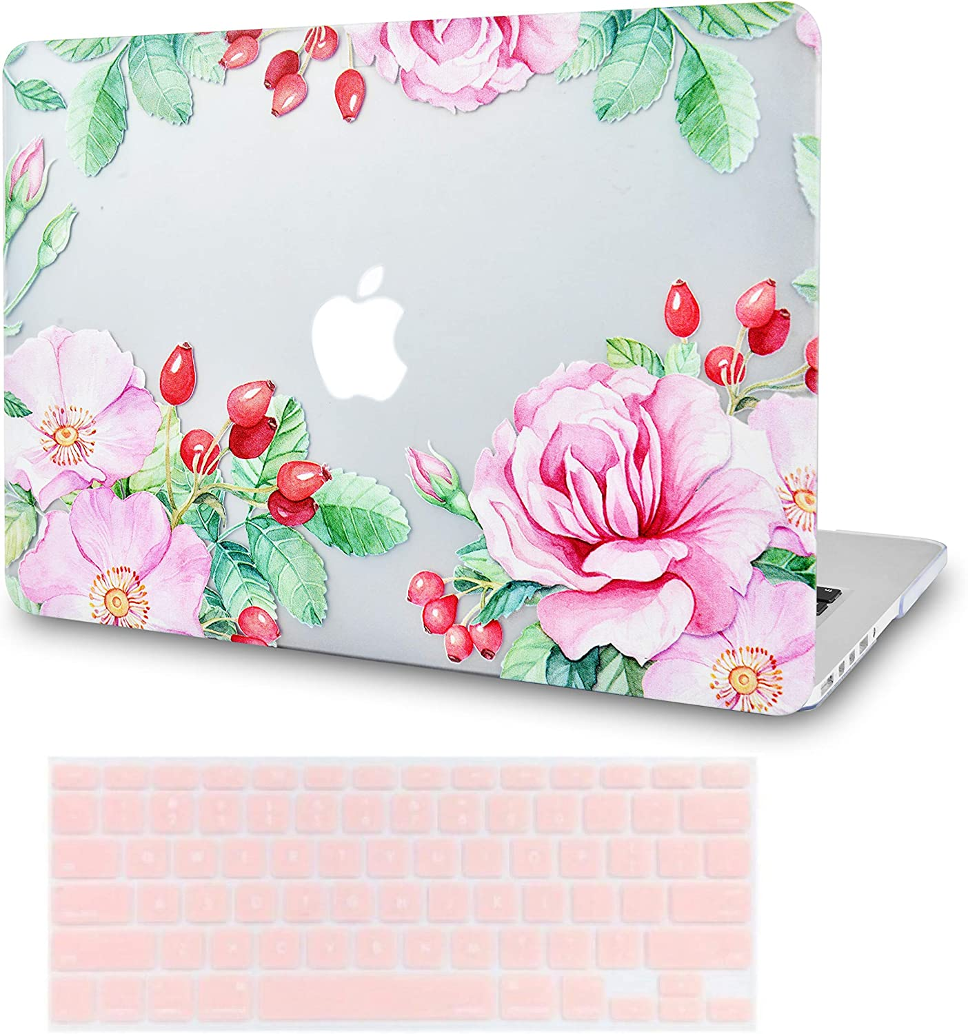 LuvCase2in1LaptopCaseforMacBookAir 13 Inch A1466/A1369 (No Touch ID)(2010-2017)RubberizedPlasticHardShellCover &KeyboardCover (Roses and Wild Fruit)