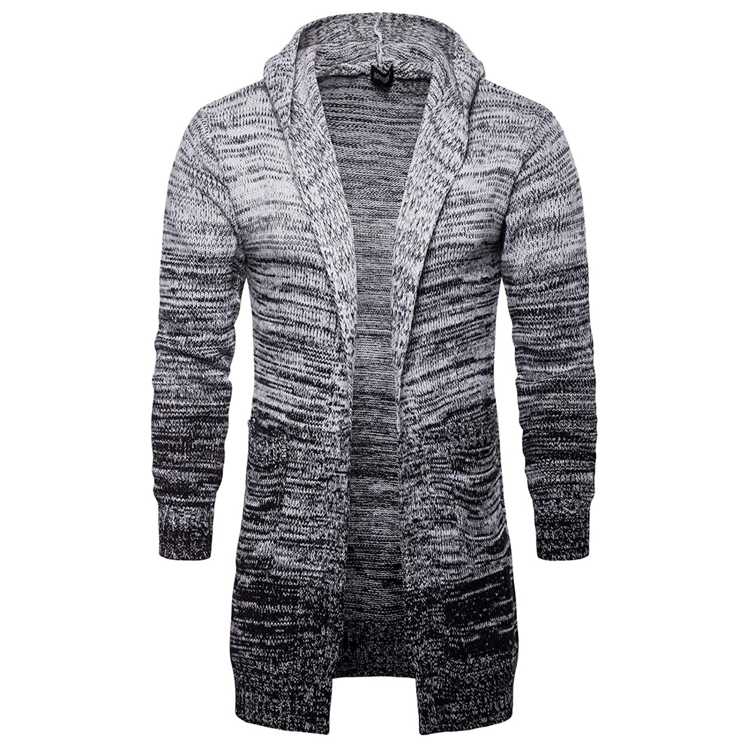 Elonglin Mens Cardigan Sweaters Outerwear Long Sweaters Hooded Knitted Open Edge Thicker Cardigan EL.AW-Y913