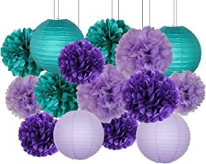 Furuix Mermaid Party Decorations /Under The Sea Party 16pcs Teal Lavender Purple Tissue Paper Pom Pom Paper Lanterns for Birthday Decor Mermaid Baby Shower Decorations Mermaid Party Supplies