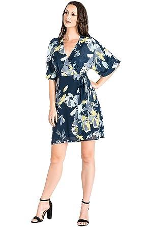 9064f6dc85c Standards   Practices Modern Women s Navy Floral V-Neck Kimono Wrap Midi Dress  Size S