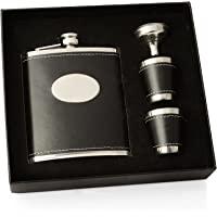 Charles Hendon Personalised Engraved Black or Pink Hip Flask Gift Set, with 2 Cups and Funnel