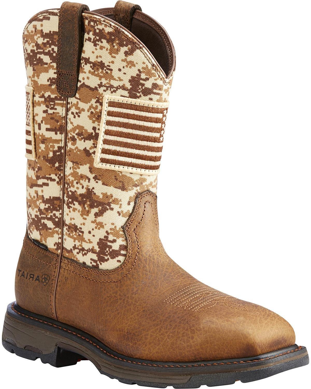 Ariat Men's Workhog Patriot Western Boot Steel Toe Brown 7 D