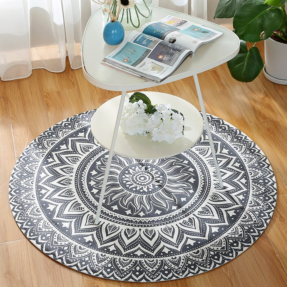 Grey Mandala LEEVAN Modern Non-Slip Backing Machine Washable Round Area Rug Living Room Bedroom Children Playroom Soft Flannel Microfiber Carpet Floor Mat Home Decor 4 Diameter