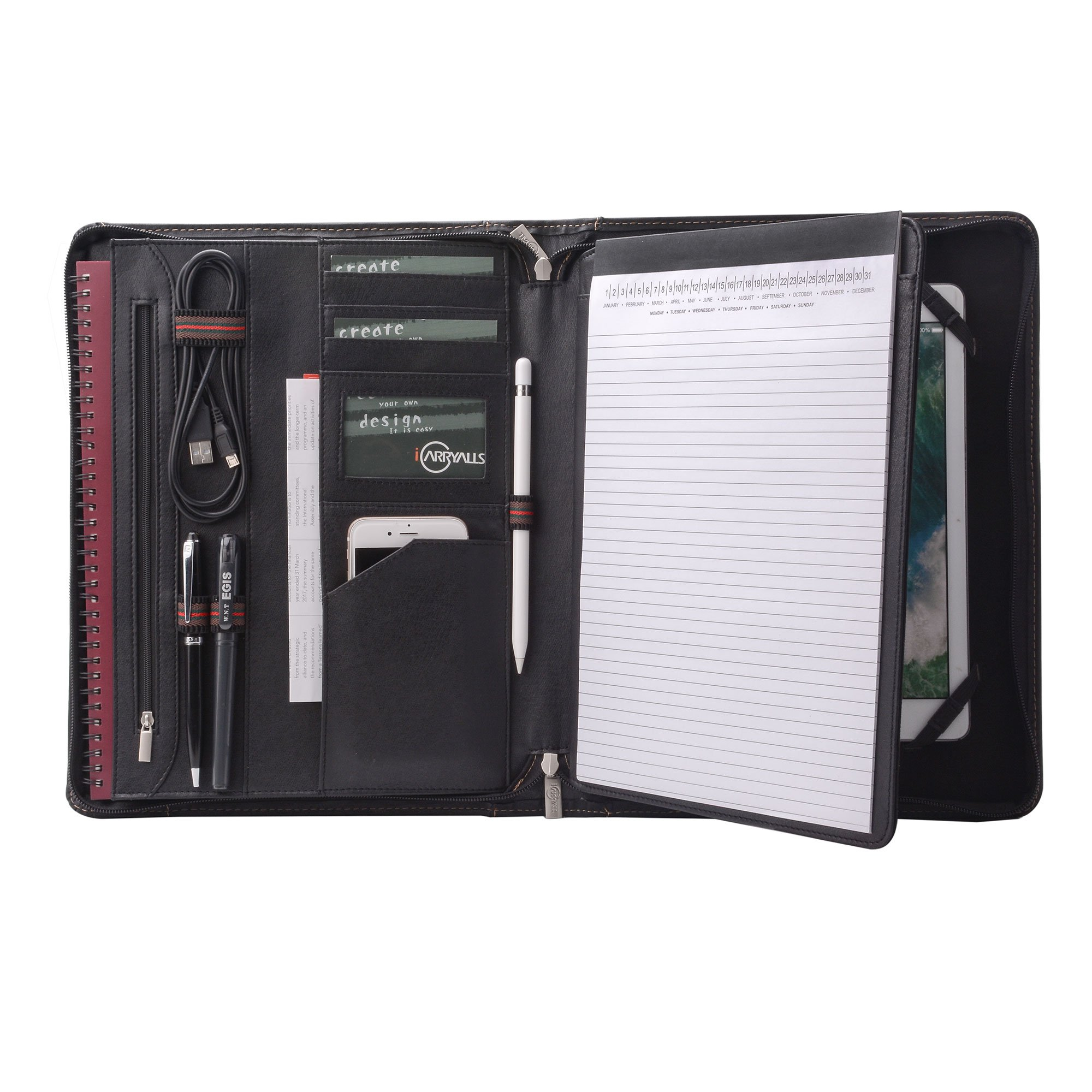 iCarryAlls Leather Padfolio with Zipper, Organizer Padfolio Case for 9.7 inch iPad Pro, A4 Portfolio for Notepad