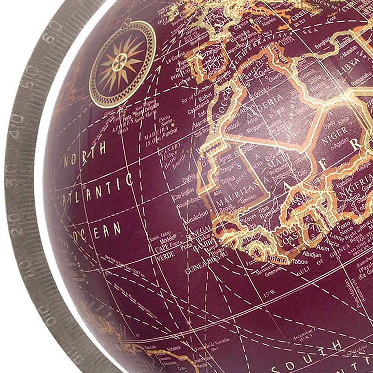 World Globe Home Decor Office Decor 5 Black Multicolour Brown Educational Gift Item by Globes Hub Antique Globe with Brass Antique Arc and Base