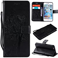 (iPhone SE / 5 / 5S, Black) - NOMO iPhone SE 5 Case,iPhone SE 5S Wallet Case,iPhone SE 5 Flip Case PU Leather Emboss Tree Cat Flowers Folio Magnetic Kickstand Cover with Card Slots for iPhone SE 5 5S Black
