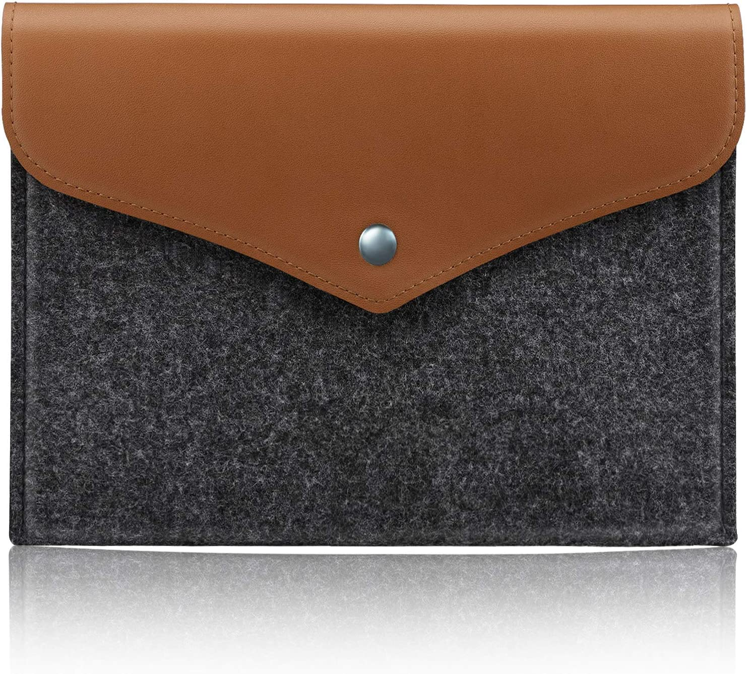 Dadanism 7-8 Inch Tablet Sleeve Case Compatible with Kindle & All-New Amazon Fire 7 2019/2017, Felt & PU Leather Carrying Bag Fit Fire HD 8 2018, Fire 7/Fire HD 8 Kids Edition - Light Grey & Brown