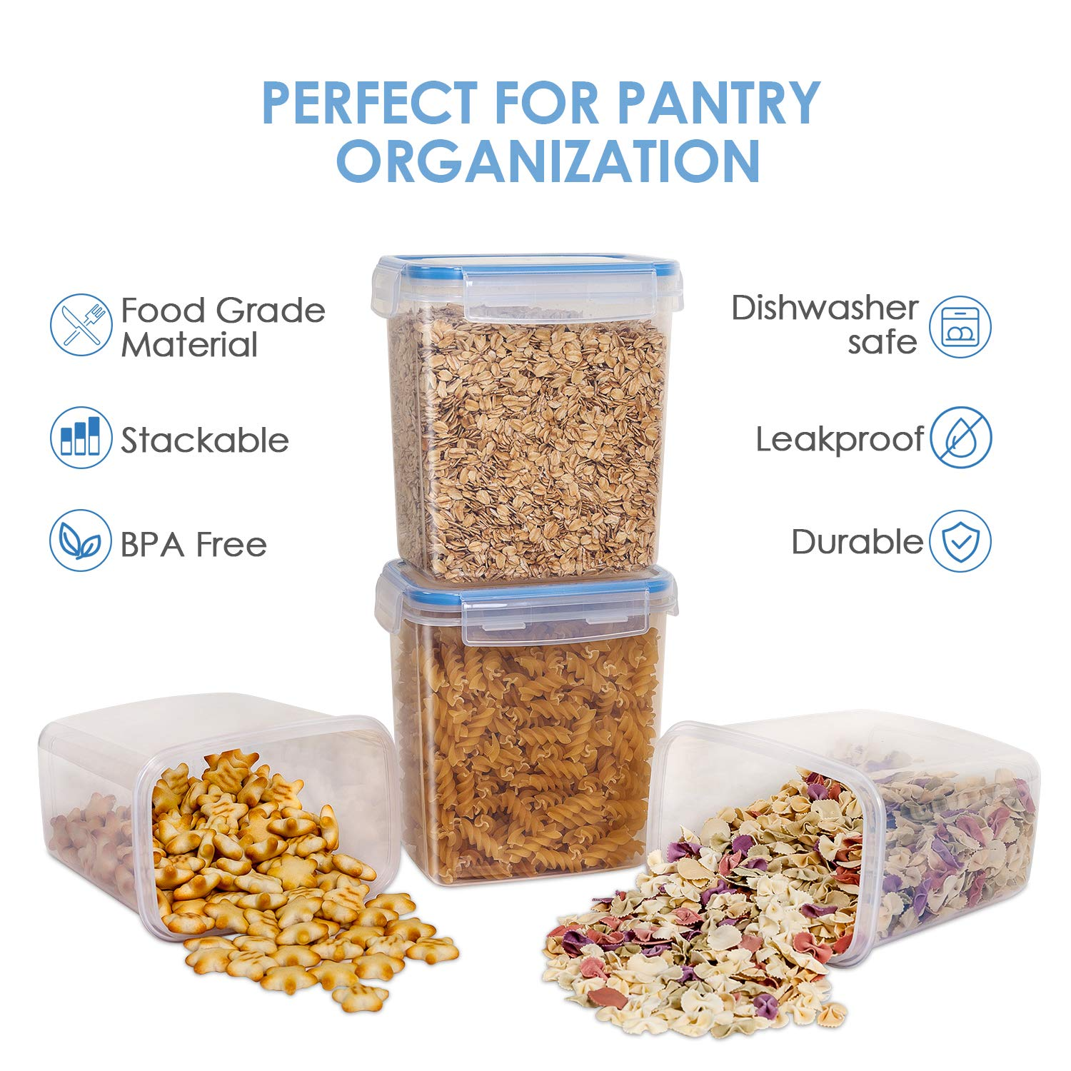 Vtopmart Airtight Food Storage Containers 12 Pieces - Plastic PBA Free Kitchen Pantry Storage Containers for Sugar,Flour and Baking Supplies - Dishwasher Safe - 24 Chalkboard Labels and 1 Marker by Vtopmart (Image #2)