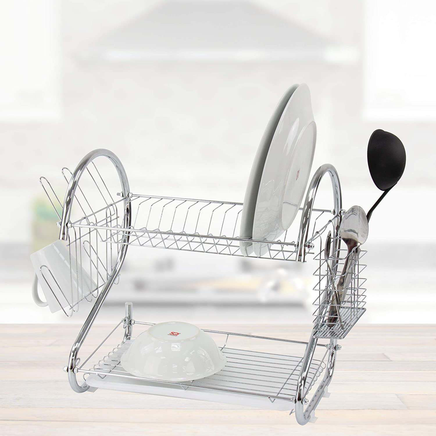 Silver SQ Professional 2 Tier Dish Drainer With Glass Holder /& Drip Tray