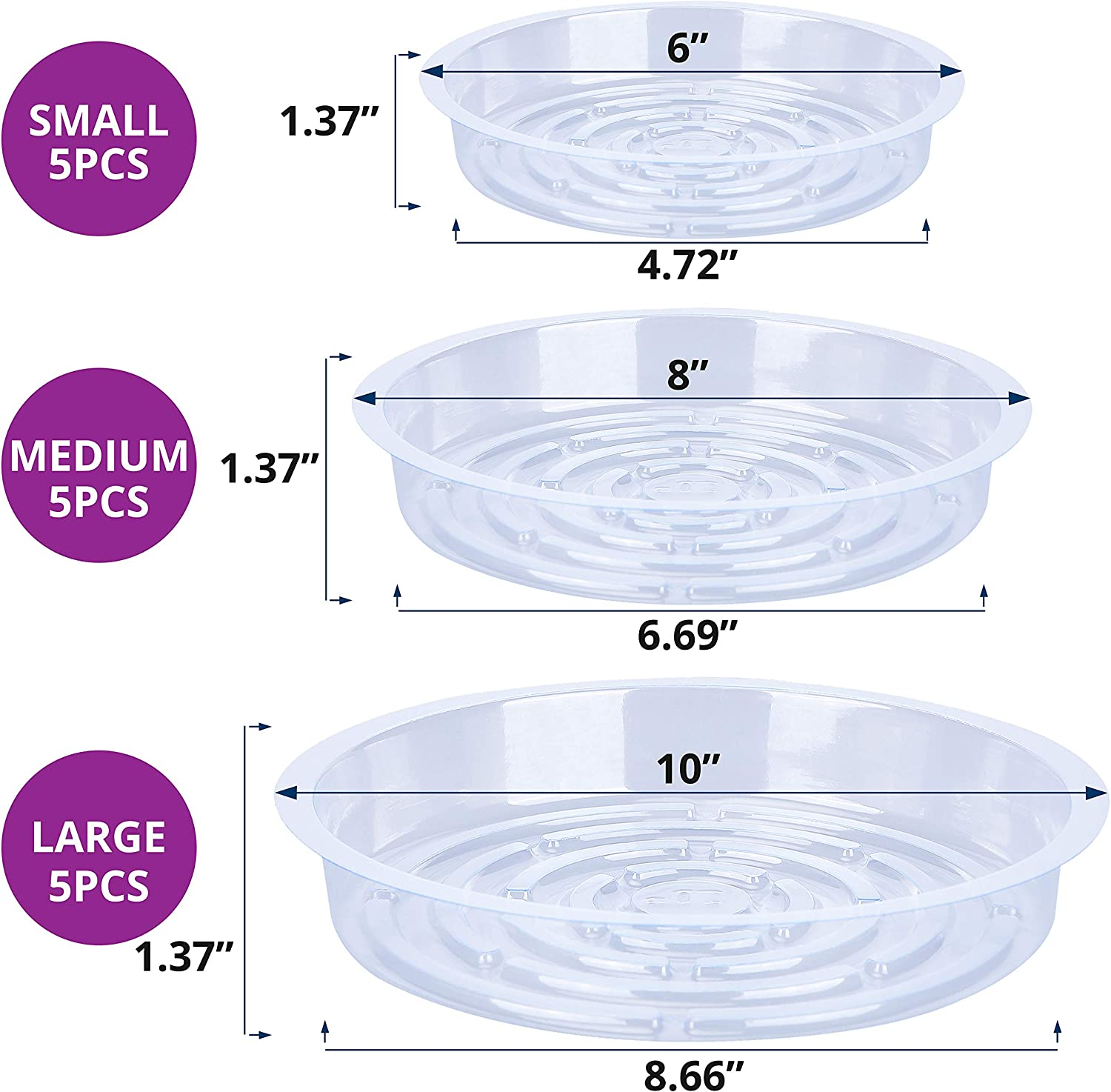 Konanzo Plant Saucer 15 Pack of Clear Plastic Saucers Drip Trays in Assorted Sizes (6 inch/8inch/10inch) Flower Pot Tray for Indoors & Outdoor Plants or Planter pots. (1, 6, 8, 10 inch) : Garden & Outdoor