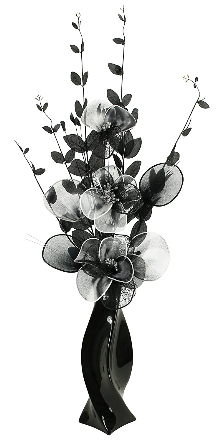 Black Vase With Black And White Artificial Flowers Ornaments For