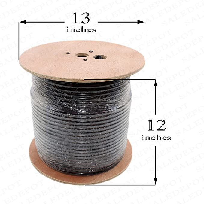 Amazon.com: RG11 Cableado Cable 500 ft Roll de Black tri ...