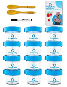 PreppyBaby 4 oz Glass Baby Food Storage Containers with Lids - Pack of 12 Reusable Dishwasher & Microwave Safe Food Jars w/ 2 Bamboo Infant Spoons, Recipe Booklet & Non-Toxic Easy Erase Marker (Blue)