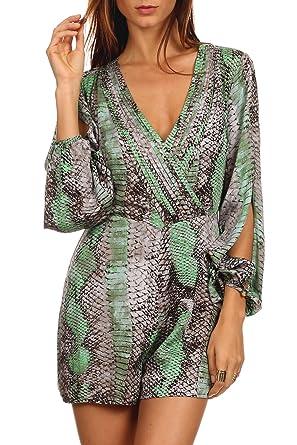 331449bb82e MeshMe Womens Amber - Green Grey Python Snakeskin Printed Pattern Snake  Patterned Print Long Sleeve Open