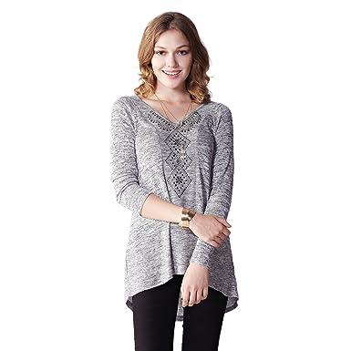 433d067cb38 OneWorld Women s Long Sleeve V Neck Neckline Print Sequins Tunic Shirt  Blouse Top for Ladies