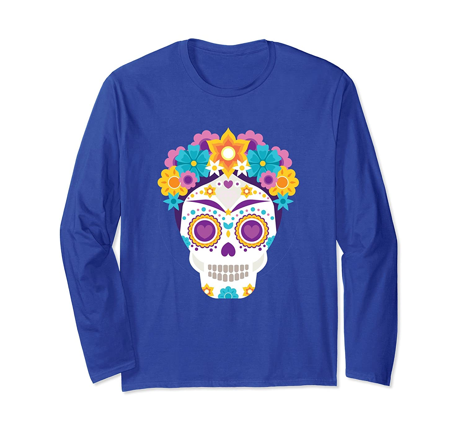 Cinco De Mayo Pretty Skull Gift Idea - Skull Long Sleeve Tee-mt