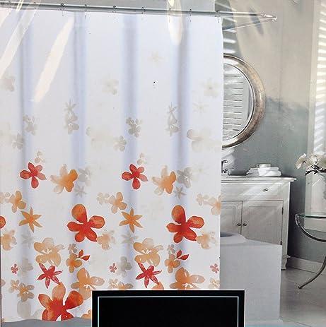 orange floral shower curtain. Cynthia Rowley Orange Floating Flower Fabric Shower Curtain Light Dark  Floral PatternAmazon com Showers Flowers