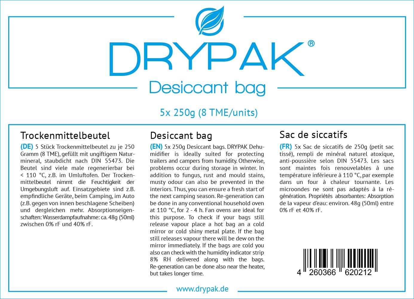 10 x 250 grams 0.25 kg | Silica gel Moisture absorber Desiccant bags DRYPAK Dehumidifier regenerable