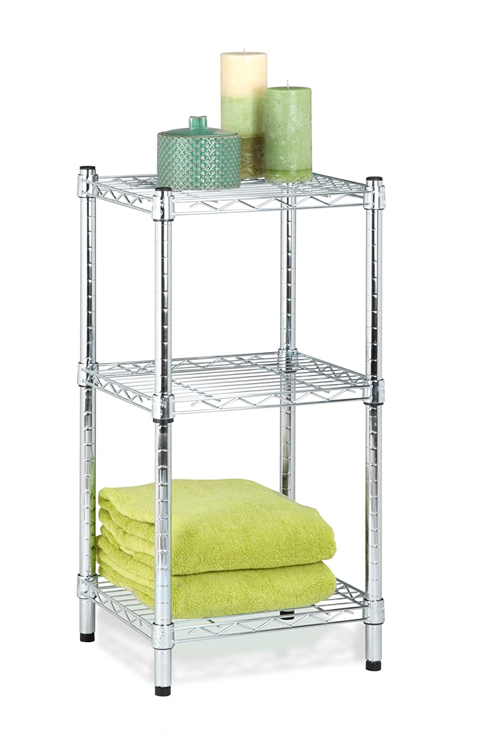 Honey-Can-Do SHF-02217 3-Tier Steel Wire Shelving Tower, Chrome, 14 by 15 by 30-Inch