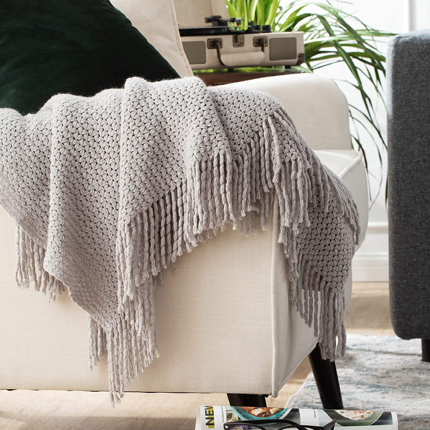 Bedsure Throw Blankets for Couch, Soft Knit Woven Blanket, 50x60 Inch - Lightweight Farmhouse Decorative Blanket with Tassels for Bed, Couch, Sofa - Suitable for Adults and Kids (Grey): Kitchen & Dining