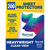 Samsill 200 Clear Heavyweight Sheet Protectors, Reinforced 3 Hole Design Plastic Page Protectors, Archival Safe, Top…