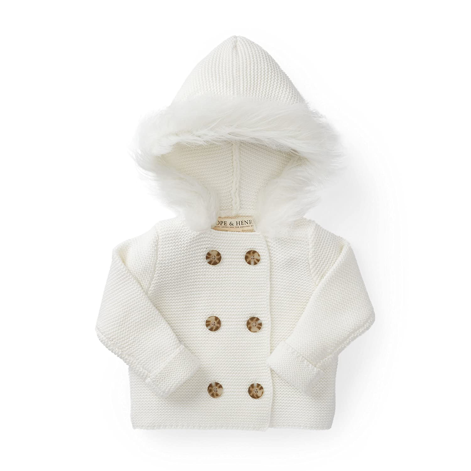 Hope & Henry Layette Sweater with Faux Fur Hood Made with Organic Cotton