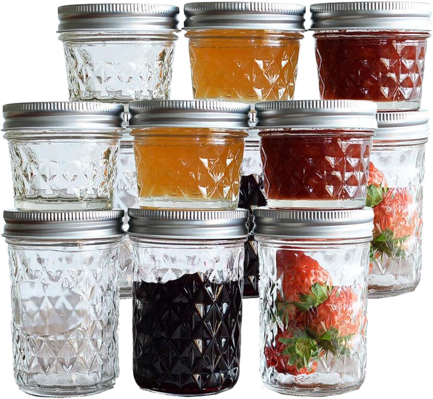Tebery 12 Pack Mason Jars 8oz & 4oz Canning Jars Jelly Jars With Regular Lids for Jam, Honey, Wedding Favors, Shower Favors, Baby Foods