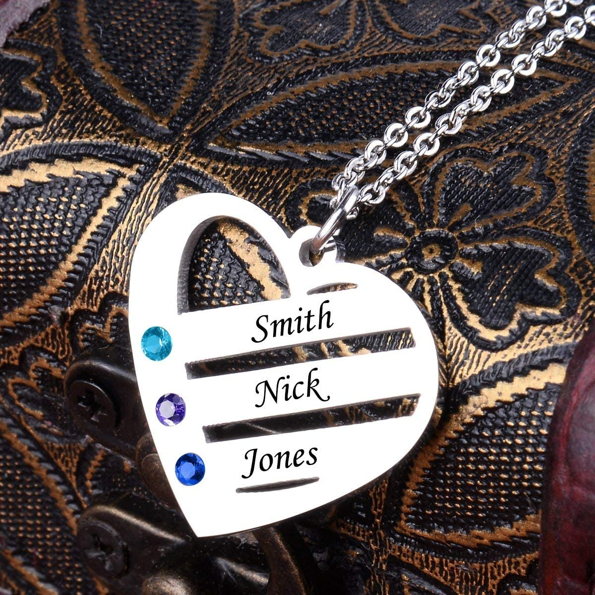 Men VERSUSWOLF 925 Sterling Silver Heart Pendants Necklaces Custom Pendan with Any 3 Names and 3 Birthsone Stone Engrave Name Necklace Jewelry