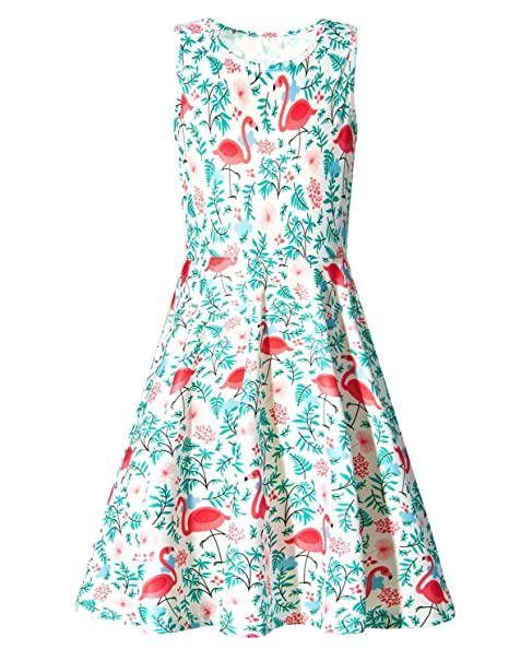fd25f4608aaf RAISEVERN Little Girls Sleeveless Dress Cute Casual Flamingo Dresses 3D  Print Round Neck Summer Swing Twirly