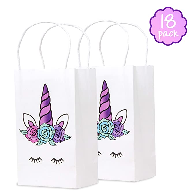 Cooper Papery Unicorn Goodie Bags for Unicorn Party Favors, Candy, and Gifts – 18pack with Handles