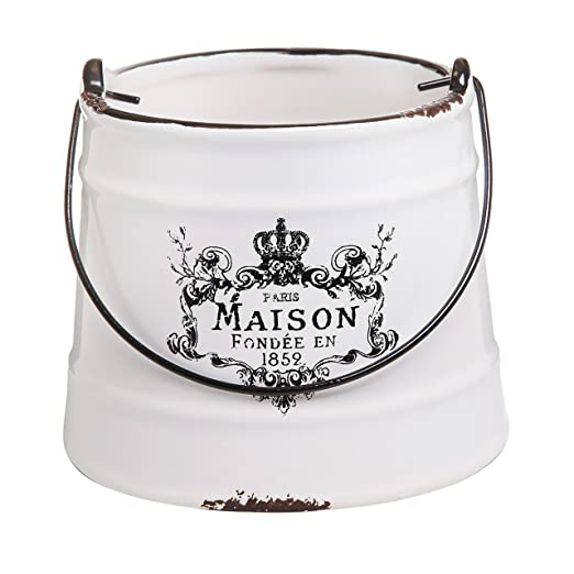 Rustic White Ceramic French Country Maison Planter Pail