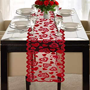 Mosoan Valentines Day Table Runner - Red, 13 x 72Inch - Lace Table Runner for Wedding Party, Valentines Decorations - Home Heart Table Runner
