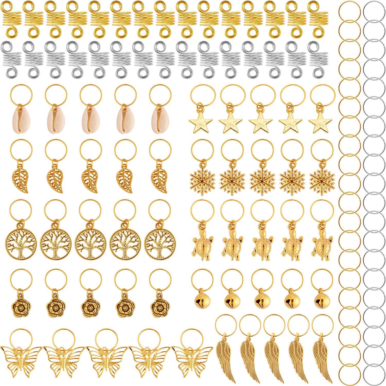 120 Pieces Hair Braid Rings Metal Hair Cuffs Copper Hair Dreadlocks and Pendant Charms Hair Clip Headband Accessories (Gold) TecUnite