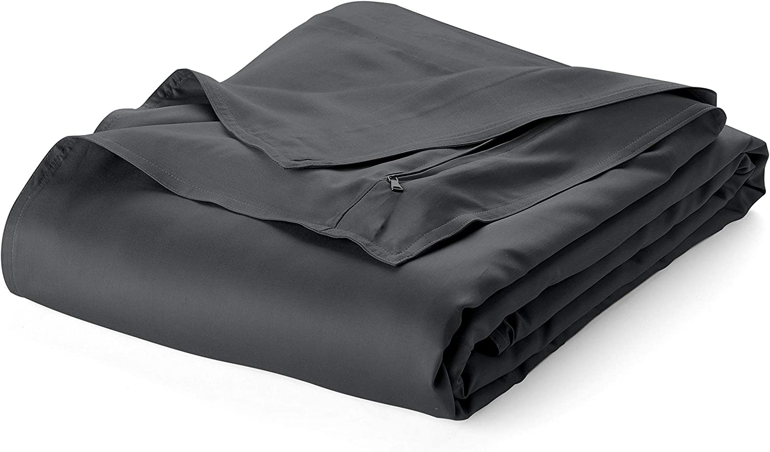 Pure Bamboo – Twin Weighted Blanket Cover 48x72 – 100% Organic Bamboo Viscose Blanket Duvet Cover with 8 Snaps, Hidden Zipper, Machine-Washable, Lightweight, Breathable (48x72, Charcoal)