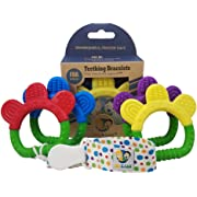 Ike & Leo Teething Toys - Bracelets: Baby Infant and Toddler with Pacifier Clip / Teether Holder, Best for Sore Gums Pain Relief, Eco Friendly BPA Free & Freezer Safe, Set of 4 Silicone Teethers