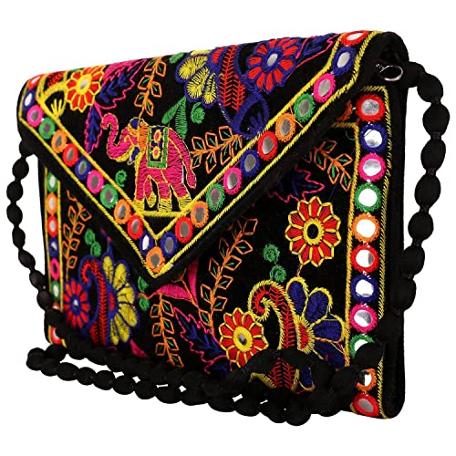 0821aa38cf1a Image Unavailable. Image not available for. Color  Suvasana Indian  Handicraft Rajasthani Jaipur Bohemian art Sling Bag ...