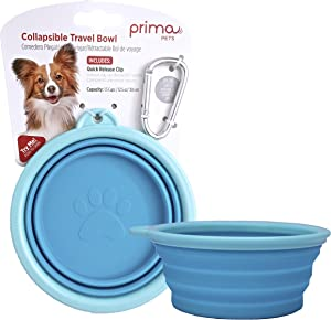 Prima Pet Expandable/ Collapsible Silicone Food & Water Travel Bowl with Clip for Small & Medium Dog and Cat, Size: 1.5 Cups (5.1 Inch Diameter Bowl) (AQUA)