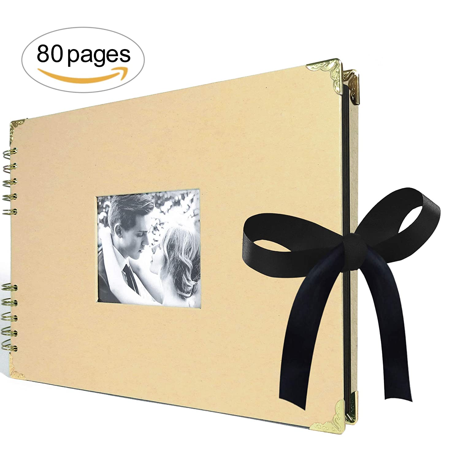 Scrapbook Photo Album - Large - 12.6 x 8.6 - Golden Features & 80 Large Black Pages – Ideal Wedding Scrapbook, Baby, Anniversary, Gift Album – Scrap Book R-tistic Flair