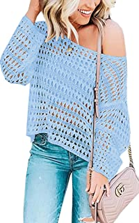 Angashion Women's Cover Ups - One Shoulder Long Sleeve Mesh Hollow Beach Swimwear Knitted Cover Up Shirt Tops