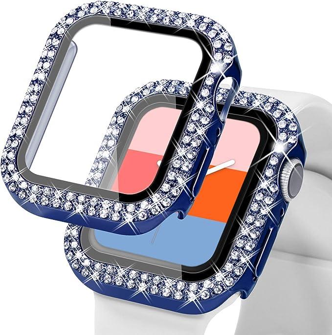 Kades Kompatibel Mit Bling Apple Watch Schutzhülle Mit Integriertem Displayschutz Für Apple Watch 38 Mm 40 Mm 42 Mm 44 Mm Iwatch Se Serie 6 5 4 3 2 1 38 Mm Blau Elektronik