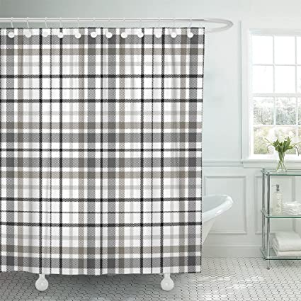 Emvency Shower Curtain Beige Border Tartan Plaid Pattern Traditional Checkered For Digital Black British Check Waterproof