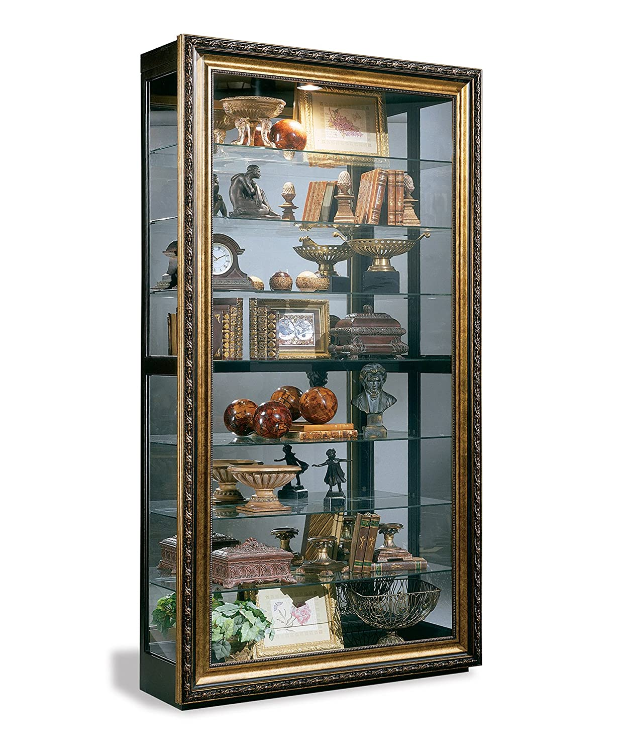 Philip Reinisch Museum Renoir Curio Cabinet, Gold and Ebony Finish 81279A