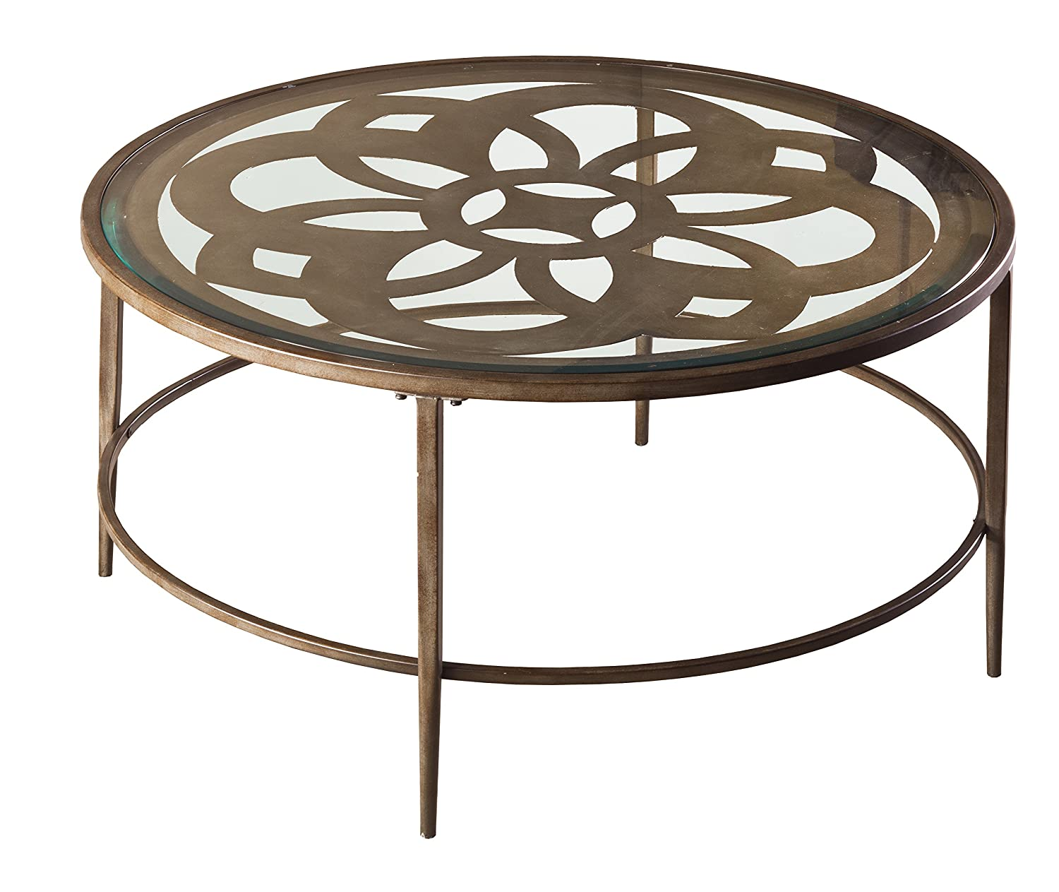 """Hillsdale 5497-882 Marsala Coffee Table, 36"""", Gray Finish with Rubbed Brown Accents"""