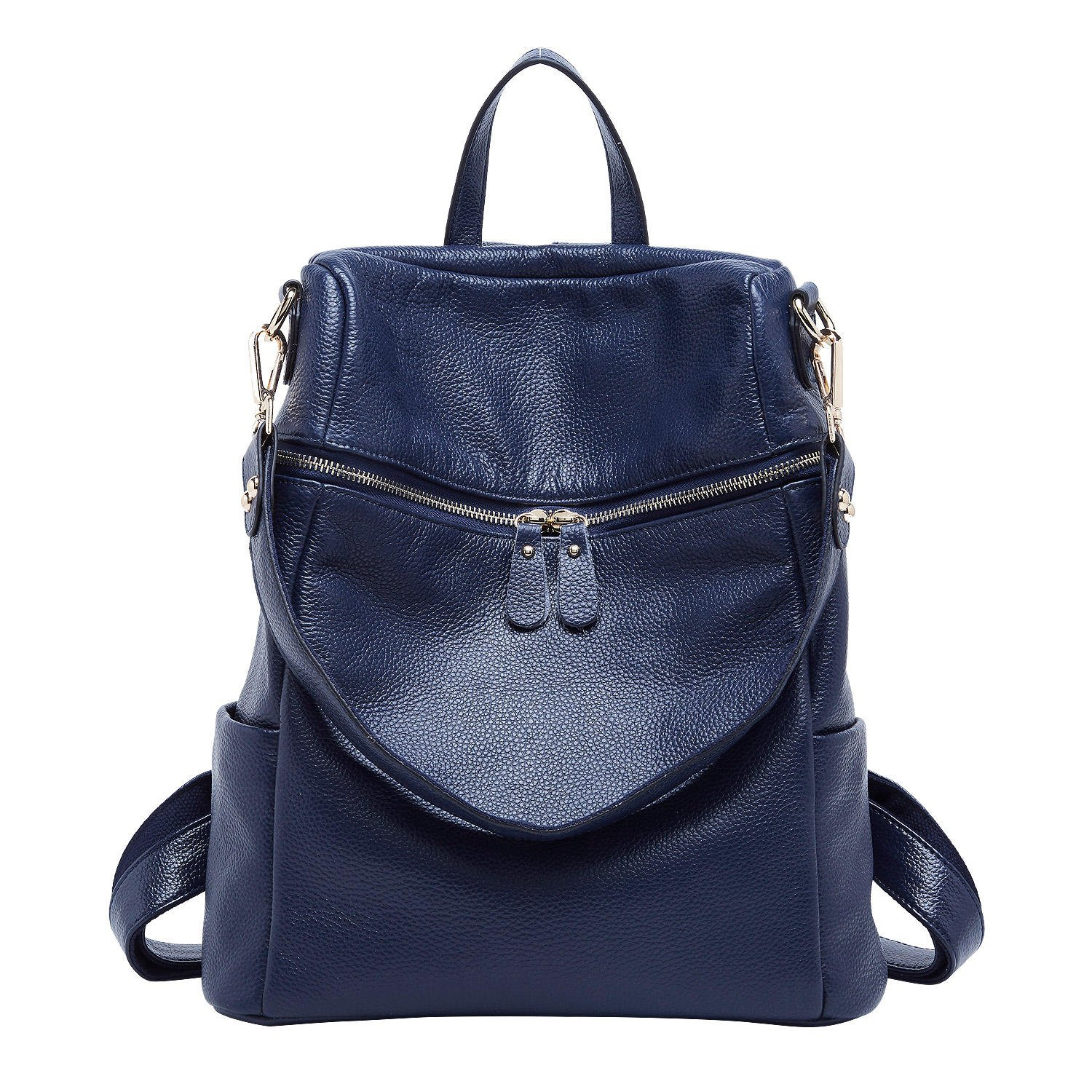 BOYATU Convertible Genuine Leather Backpack Purse for Women Fashion Travel Bag (Blue)