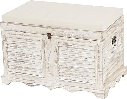 Coffre linge Coffre à Coffre de Rangement Coffret Shabby Style Blanc Panier à linge bois