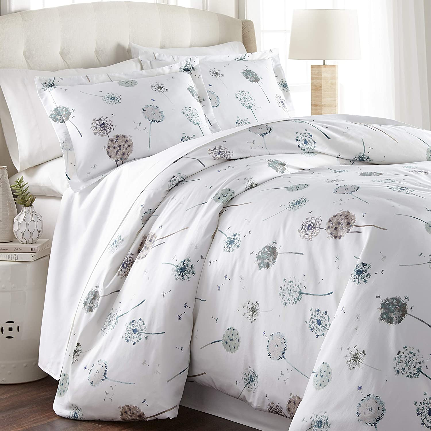 Southshore Fine Living, Inc. Dandelion Dreams Collection - 300 TC 100% Cotton Duvet Cover Set 3-Piece, Full/Queen, White