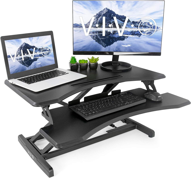 Vivo Noir debout réglable en hauteur pour station de travail | support moniteur 76,2cm Sit support de table Converter (Desk-v000m)