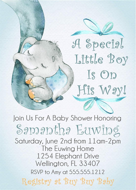 Baby Boy Blue Elephant Baby Shower Decor Blue Elephant Baby Shower Invitations Elephant Baby Shower Invitations With Envelopes