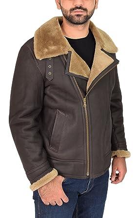 Mens Real Sheepskin Leather Jacket Ginger Shearling B3 Bomber Pilot Coat - Danny (Small)